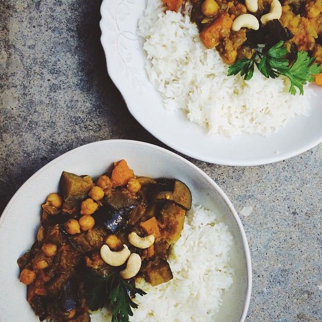 Sweet Potato, Eggplant And Chickpea Curry
