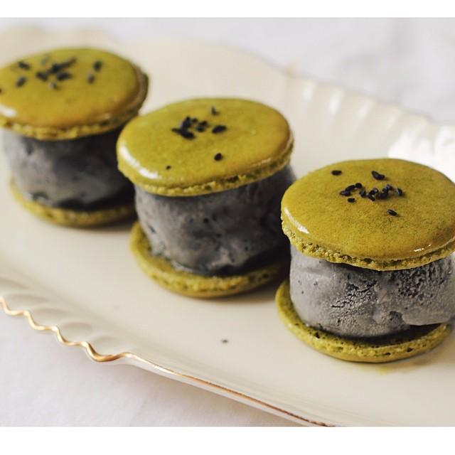 Black Sesame And Matcha Macaron Ice Cream Sandwiches