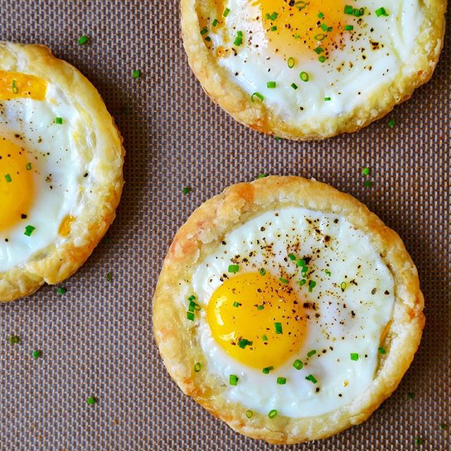 Puff Pastry Baked Eggs With Cheddar Cheese And Fresh Chives