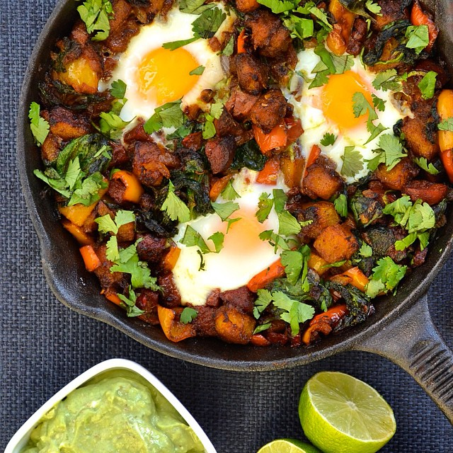 Mexican Breakfast Hash With Peppers, Chorizo And Spinach