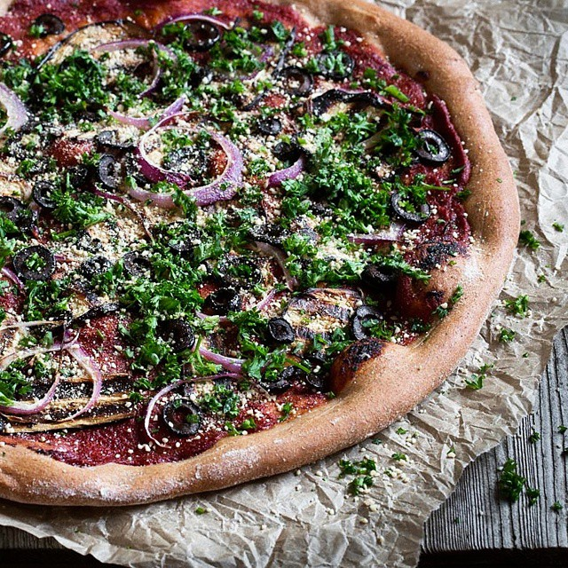 "Wholewheat Pizza With Eggplant, Red Onion & Cashew Parmesan ""cheese"""