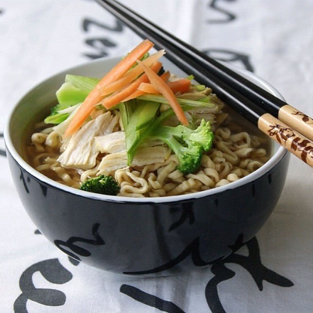Ramen Chicken Noodle Soup With Broccoli, Carrot & Sugar Snap Peas