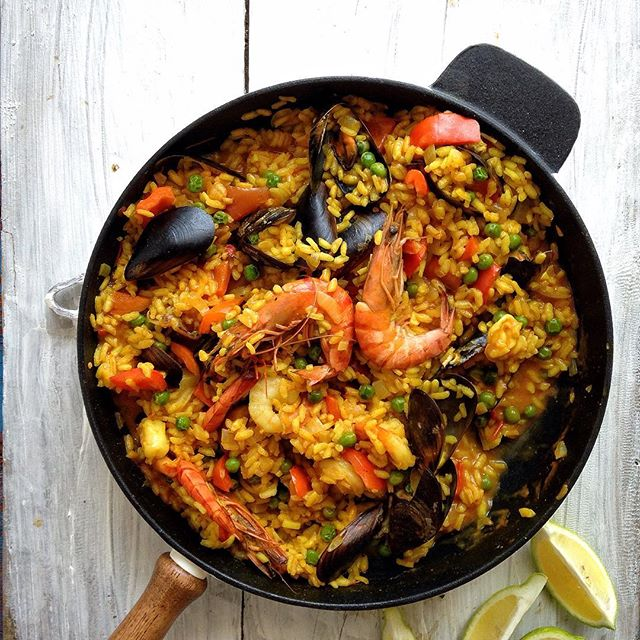 Seafood Paella With Shrimp, Mussels And Squid