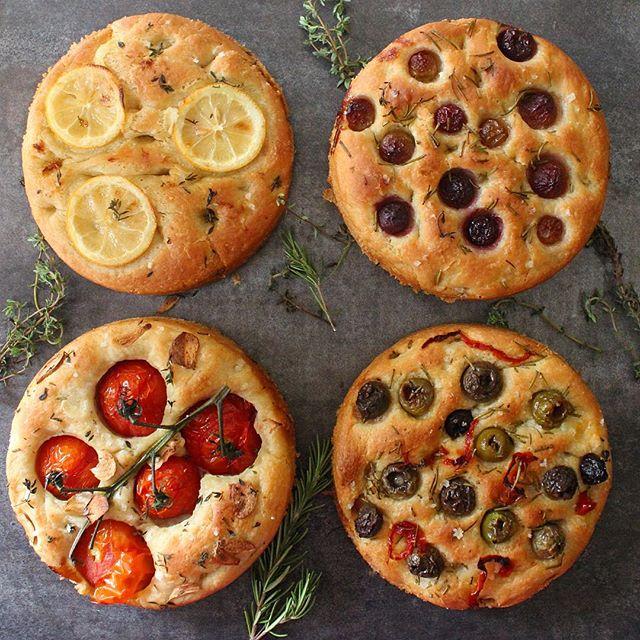 Focaccia Bread 4 Ways: Lemon & Thyme, Grapes & Rosemary, Tomato & Garlic  And Olive & Rosemary