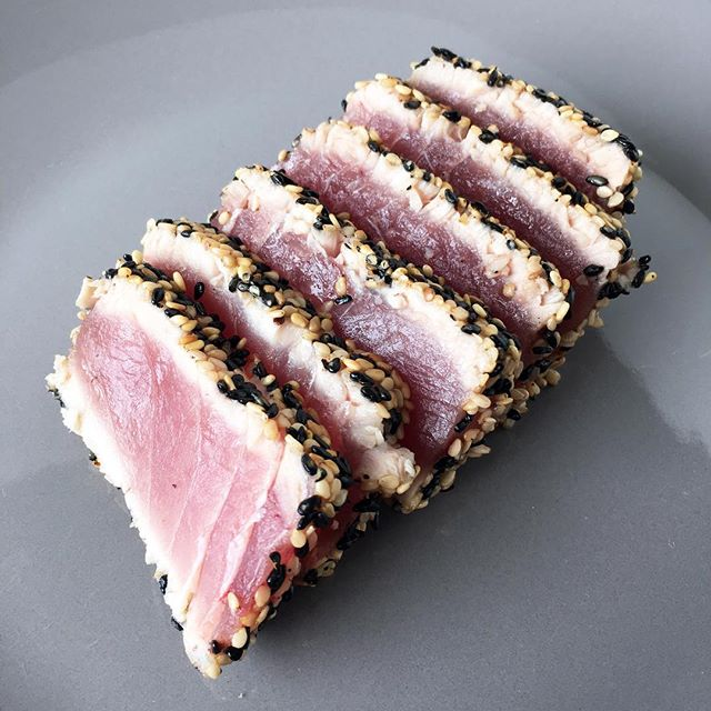 Perfectly. Seared. Tuna!? Crusted in light and black sesame seeds, I guess the only imperfect thing…