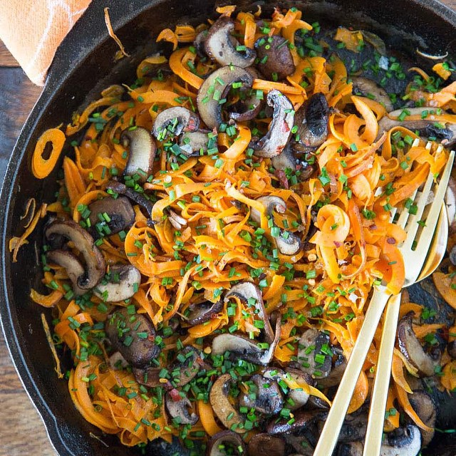 Sweet Potato Noodles With Garlic & Mushrooms