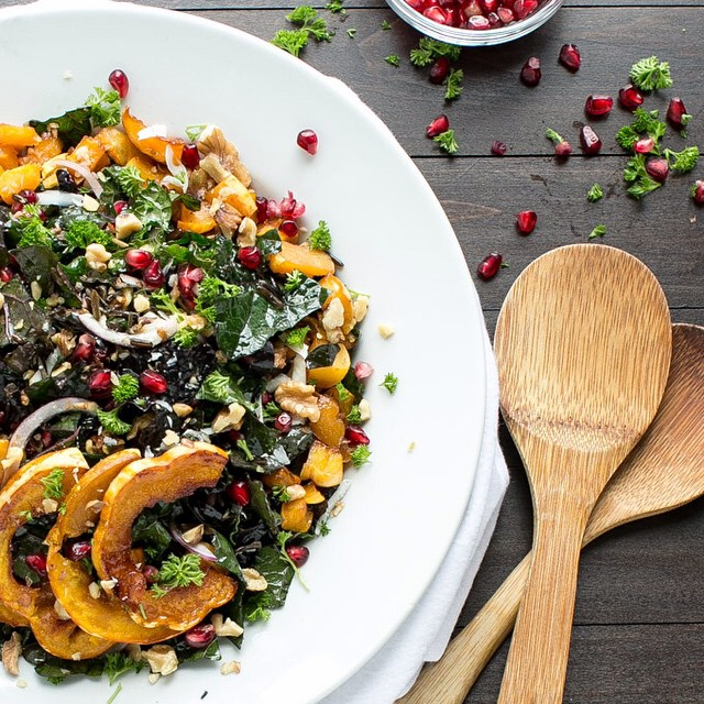 Maple Roasted Squash & Kale Wild Rice Salad
