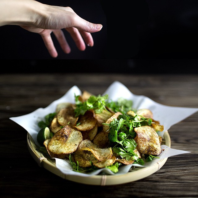 Potato Chips With Thai Herb Salad