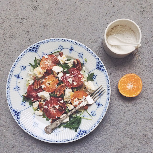 Late lunch coming up. This salad with blood oranges, fennel, goat cheese, pecans and rocket salad is…