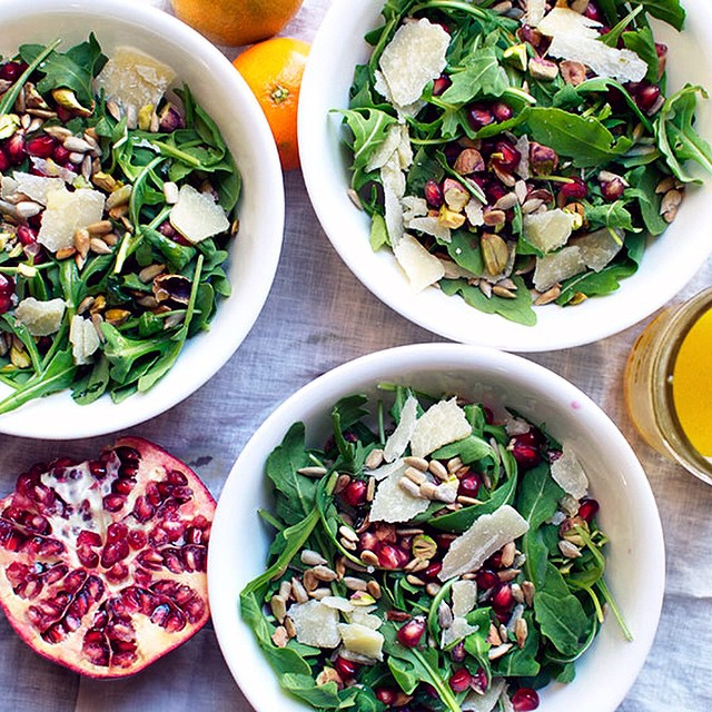 Our arugula salad is full of pomegranate seeds, pistachios and Parmesan and drizzled with…