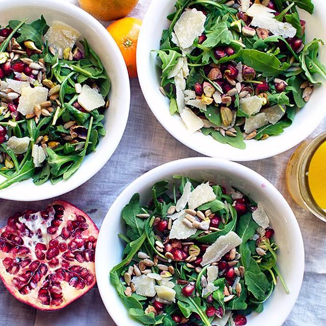 Pomegranate & Pistachio Arugula Salad With Honey-clementine Vinaigrette