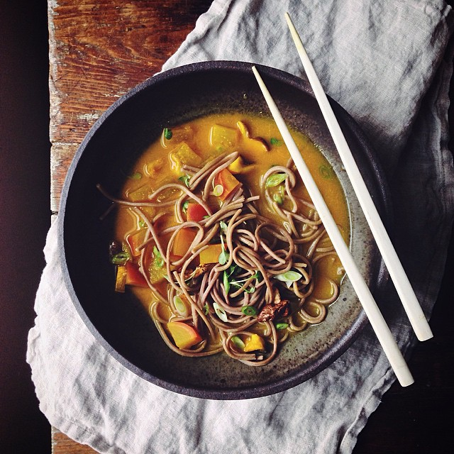 Turmeric miso soup w/ shrooms, turnip + soba on this gloomiest of days
