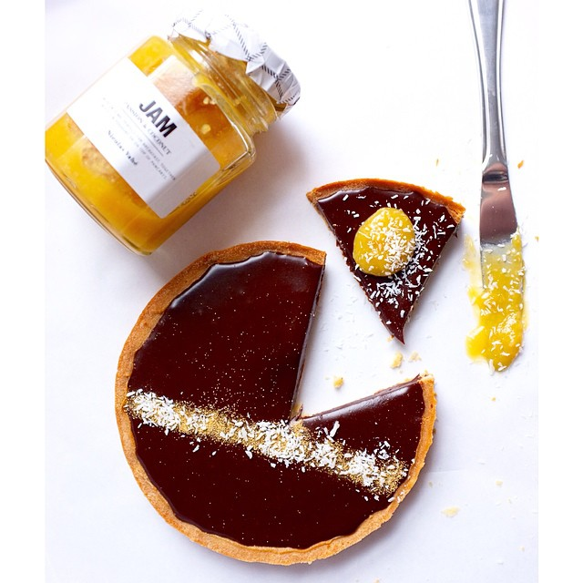 Dark Chocolate Bailey's Tart With Passionfruit Coconut Jam