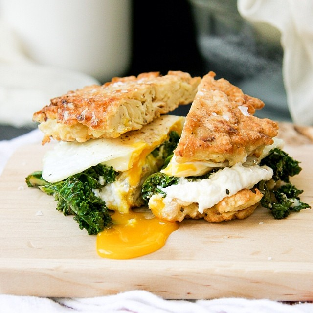 Boomwelloh Breakfast Sandwich With Ricotta & Sautéed Kale
