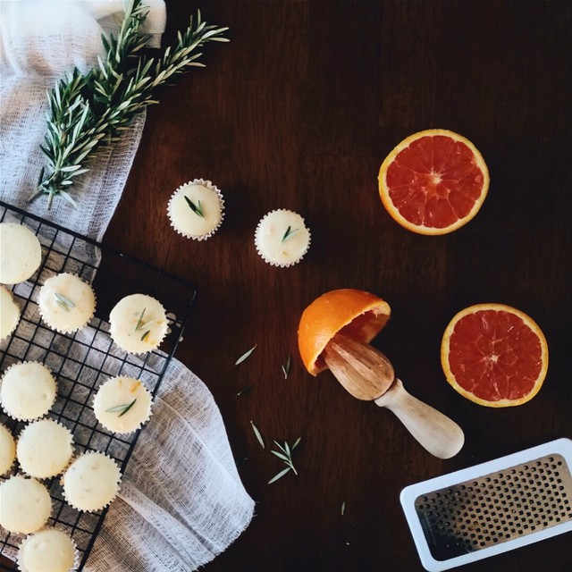 Glazed Cara Cara Orange And Rosemary Mini Cupcakes