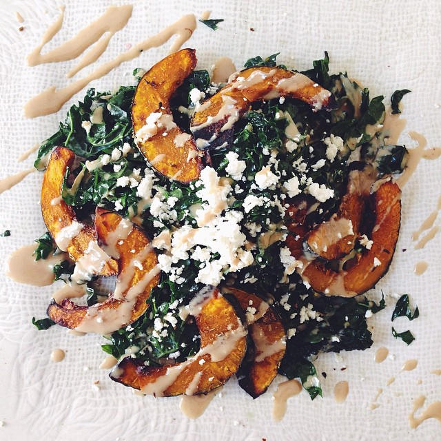 cannot. stop. eating. this. salad. :: red wine vinegar rubbed kale & cumin fennel roasted kabocha…