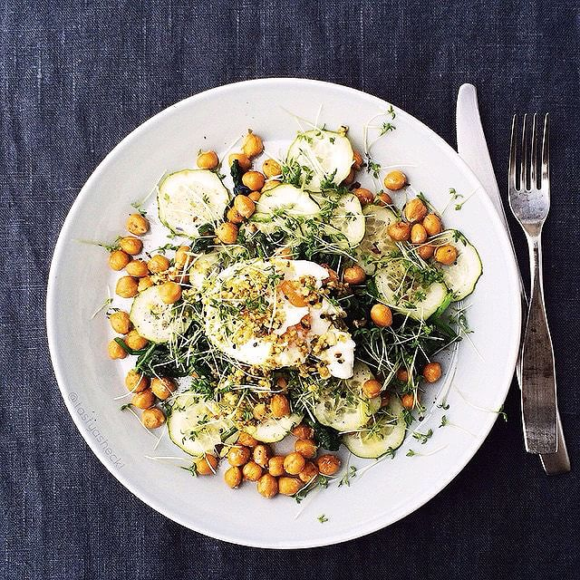 Warm Salad With Chickpeas And Dukkah Egg