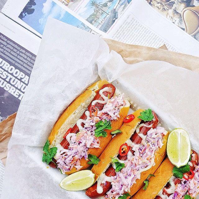 Vegan Hot Dogs, Limey Purple Slaw & Chili-cilantro Mayo