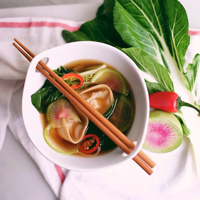 Ginger And Chili Chicken Wonton Soup