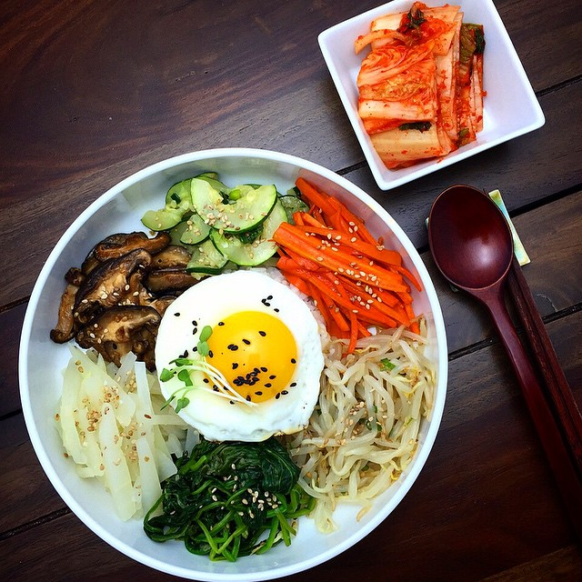 Bibimbap With Vegetables: Korean Zucchini, Bean Sprouts, Carrot, Mushroom, Spinach & Radish
