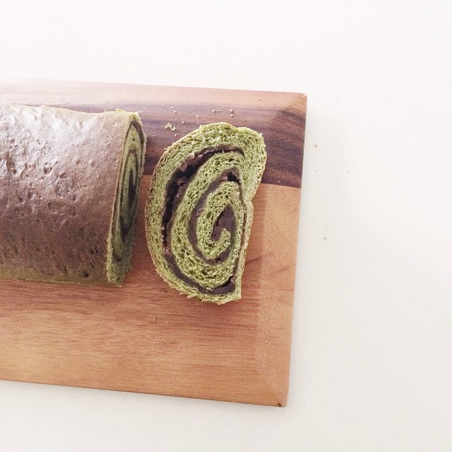 Matcha-azuki loaf bread. Soft fluffy matcha brioche and swirls of azuki bean. This is going on the…