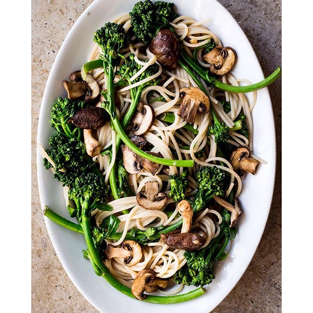 Spring Broccoli Rabe & Mushroom Pasta with Ginger Miso Sauce.