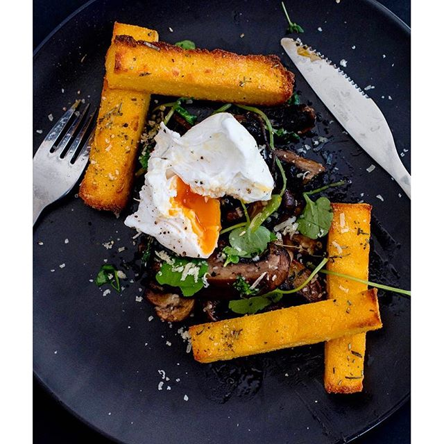 Ricotta Polenta Chips With Egg & Mushroom