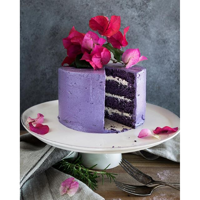 Ube Cake With Vanilla Marshmallow Cream Thefeedfeed