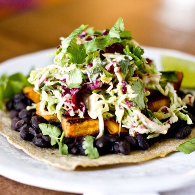 Sweet Potato Tostadas With Brussels Sprouts & Radicchio Creme Fraiche Slaw