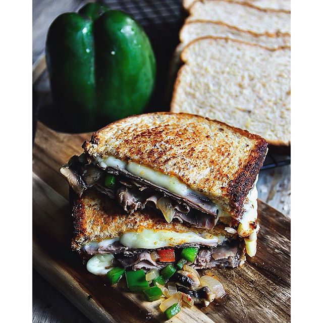 Roast Beef Grilled Cheese With Onions And Peppers