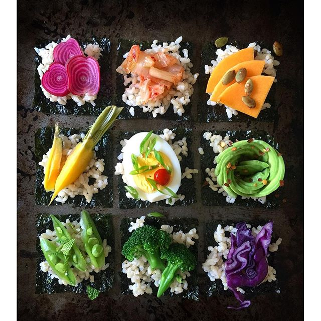 Toasted Nori Sheet Snacks With Steamed Rice & Various Toppings: Avocado, Beets, Carrots, Broccoli, Cabbage & More
