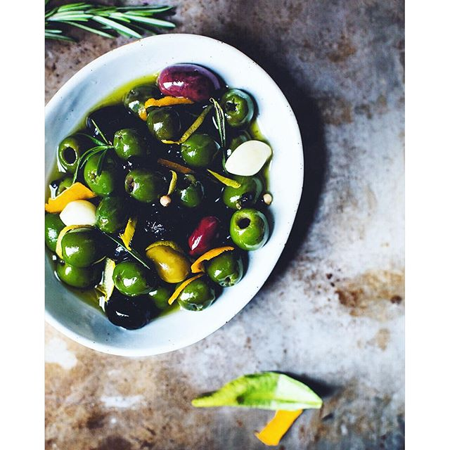 Olives With Citrus, Rosemary And Gin