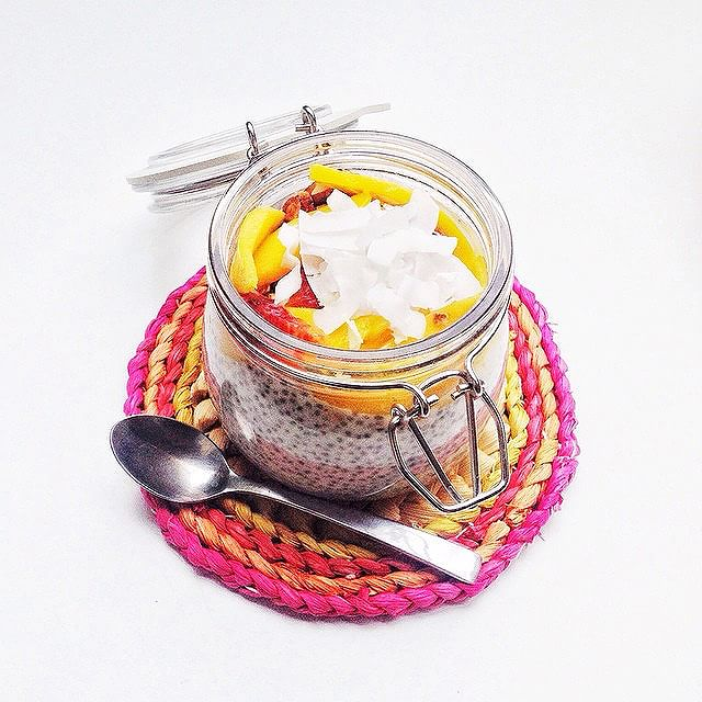 Coconut Chia Seed Pudding With Raspberry Jam & Mango