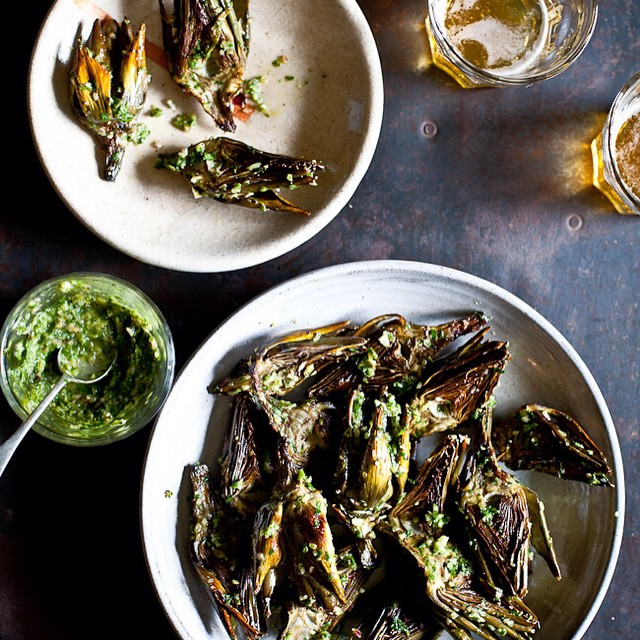 Grilled Artichokes With Chimichurri