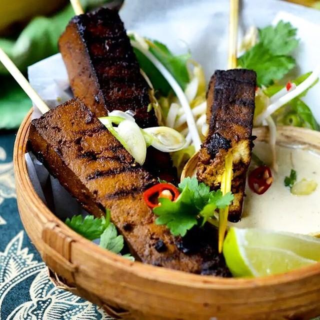 Tofu Satay With Tahini, Lemongrass And Cashew Sauce