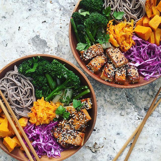 Soba Noodle, Roasted Pumpkin And Tofu Bowls