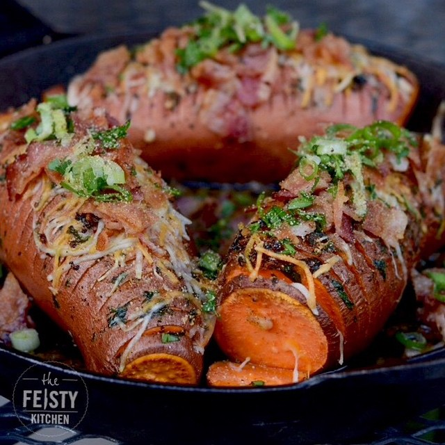 Hasselback Sweet Potatoes With Bacon & Shredded Cheese