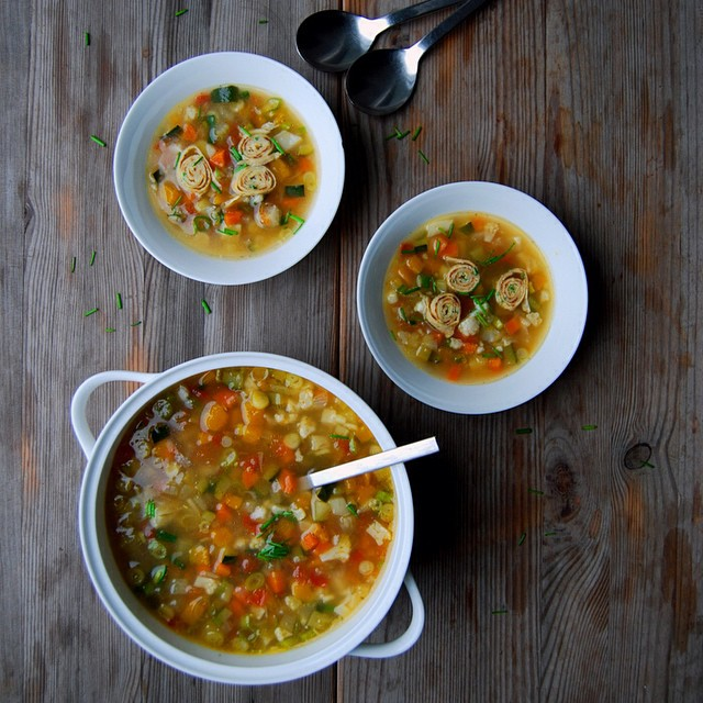 Maltese Minestrone With Cauliflower, Carrot & Onion, Served With Tyrolean Crepes