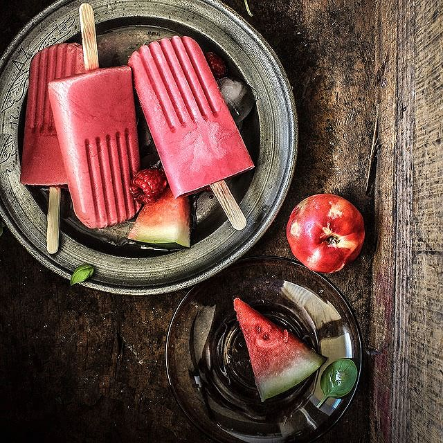 Raspberry, Watermelon, And White Nectarine Yogurt Pops