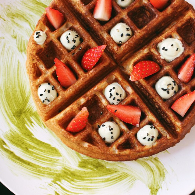 Waffles With Matcha Greek Yogurt, Toasted Black Sesame + Strawberries