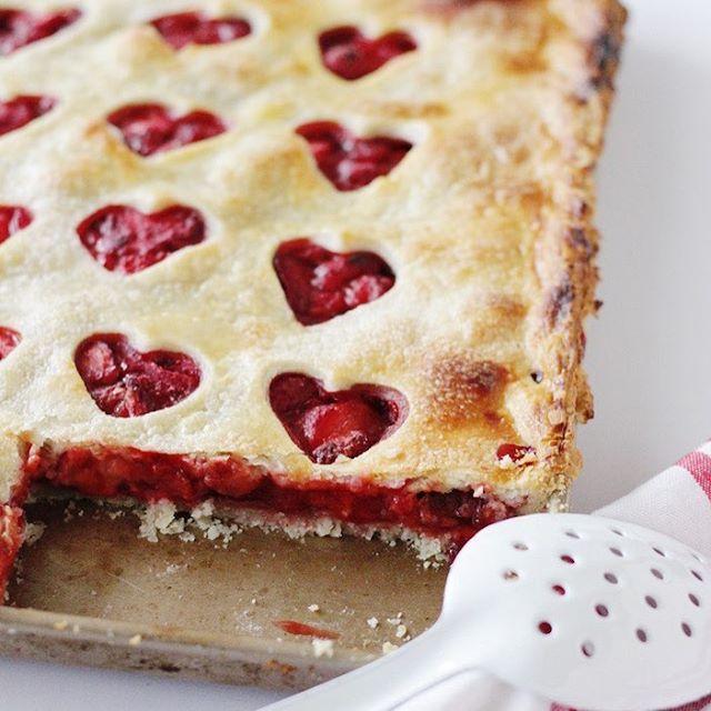 Strawberry Hearts Slab Pie
