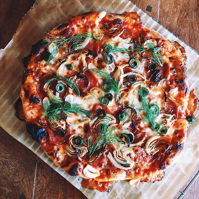 Pepperoni, Roasted Fennel, Garlic And Castelvetrano Olive Pizza