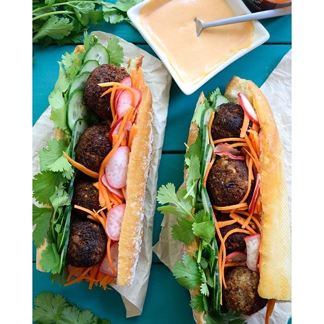 Vegan Meatball Banh Mi With Homemade Vegan Sriracha Mayo