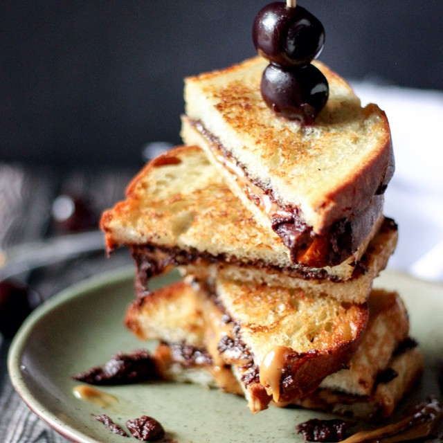 Grilled Salted Caramel, Dark Chocolate And Coffee Sandwiches