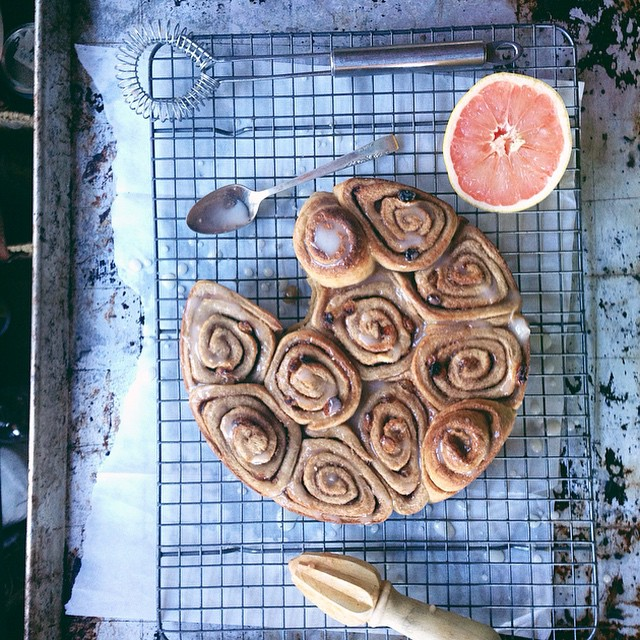 Buttery Golden Raisin Cinnamon Buns With A Pink Grapefruit Glaze