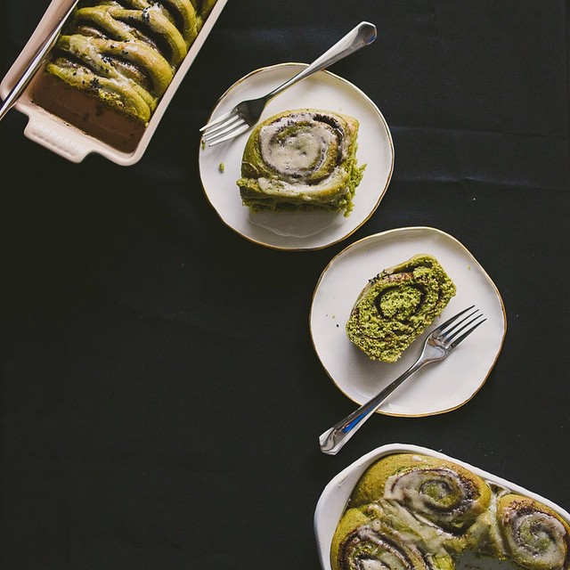 Matcha Rolls With Black Sesame Cinnamon Filling