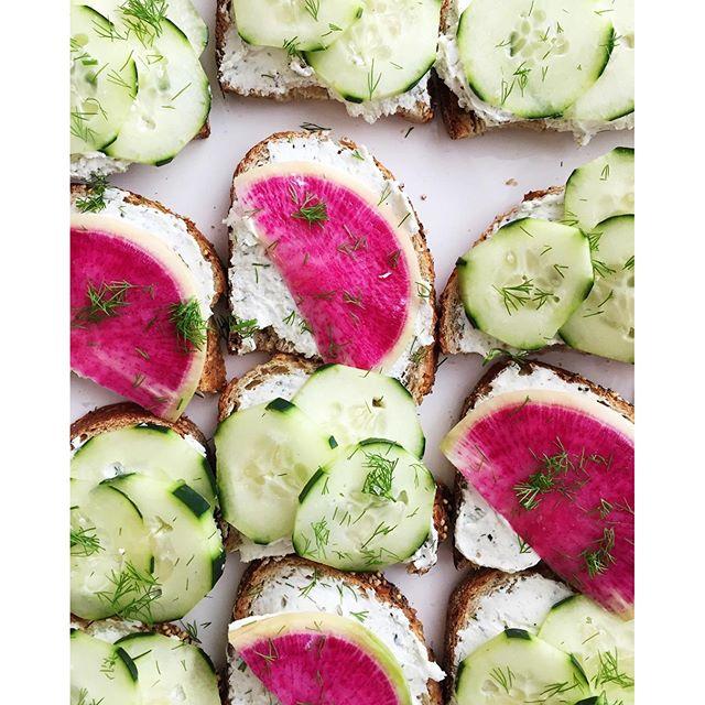 Goat Cheese Radish Cucumber Tartines • Erin Asaad