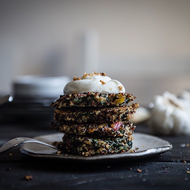 Swiss Chard, Kale & Quinoa Cakes With Greek Yogurt & Garlic