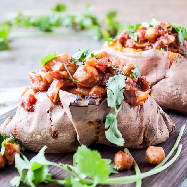 Stuffed Sweet Potatoes With Chana Masala