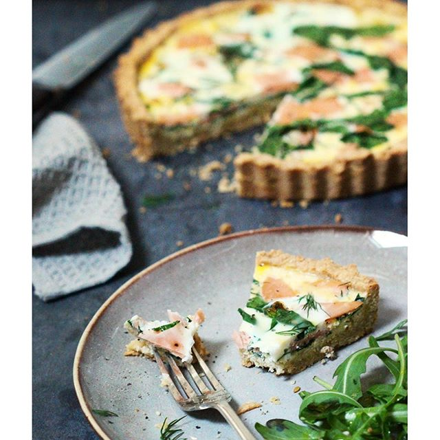 Smoked Salmon Quiche With Almond Crust